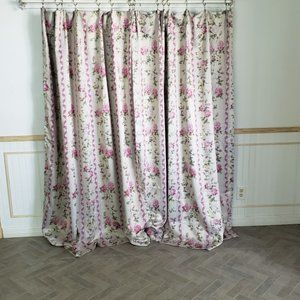 Curtain Panels Tan Pink Rose Blackout 86W Cottage